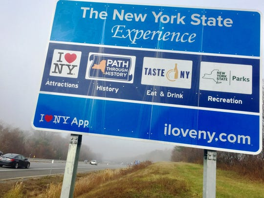 "The state and federal government have been feuding over 514 of these ""I Love NY"" highway signs, including this one in Schenectady."