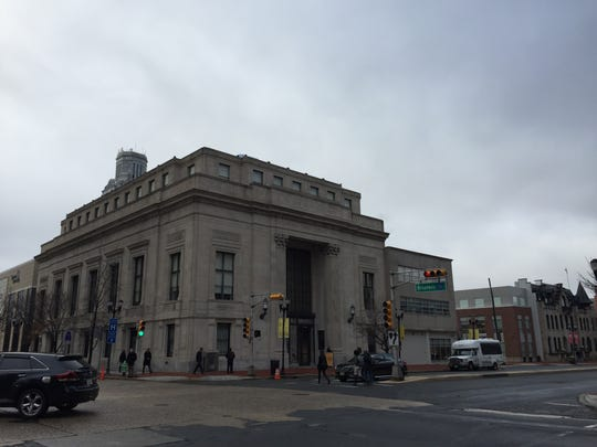 The former First Camden National Bank & Trust building at Cooper Street and Broadway has been restored to house classrooms, office space and student lounges for Rowan University.