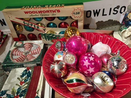 Antique Christmas ornaments at West End Garage in Cape May.