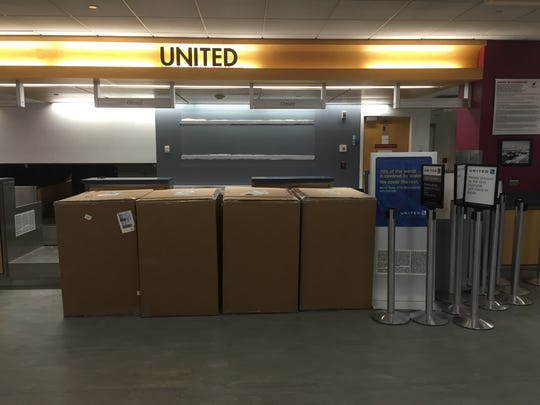 United Airlines equipment packed up at Greater Binghamton Regional Airport last week as the airline ceased its daily service to Newark's Liberty International Airport.