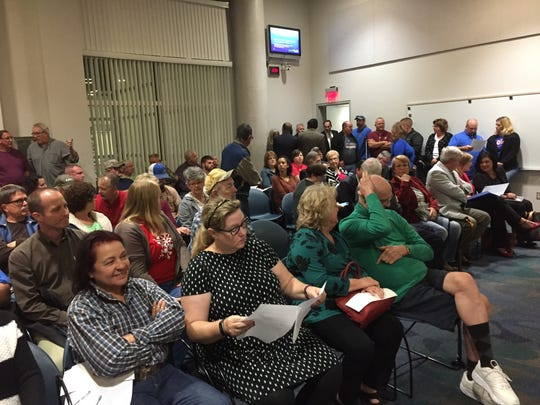 Portland residents packed the City Council chambers on Tuesday, Dec. 6, 2016 over discussion of the proposed ExxonMobil plant.