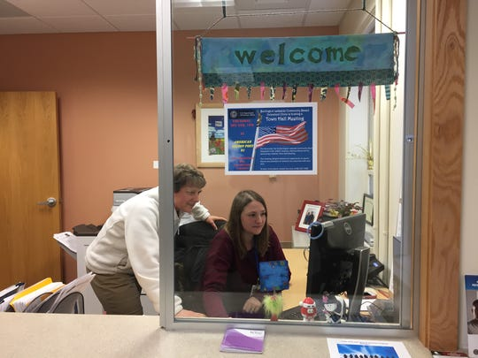 The reception desk at Burlington's Lakeside VA clinic