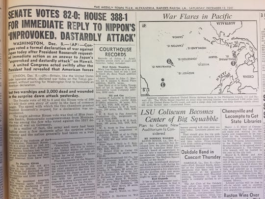 Article on the U.S. House and Senate's decision to take action after the attack at Pearl Harbor.