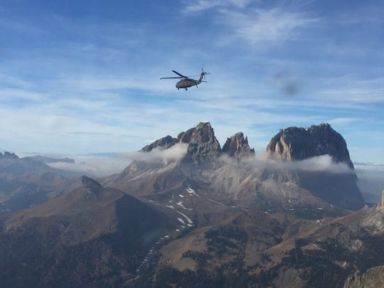 The Austrian Alps stand out at 9,000 feet as Alpha Company, 3-501st recently flew from Germany to Italy to conduct operations with the 173rd Brigade Support Battalion near Aviano, Italy.