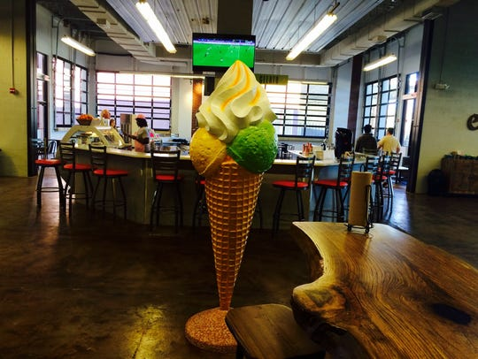 Overlooking the gelato and coffee bar at the Urban