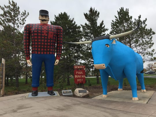 Statues of Paul Bunyan and Babe the Blue Ox in Bemidji,