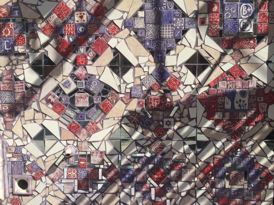 A closer look at the Creative Vision Factory mosaic on the Christina Cultural Arts Center.
