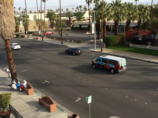 This file photo shows Indian Canyon Drive in downtown Palm Springs. Work begins May 6 on converting a one-mile stretch to accommodate traffic in both directions.