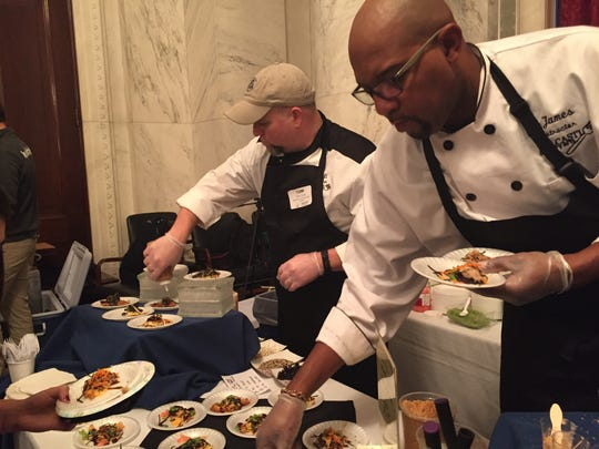 Instructors and students from The Cooks and Bakers Club at Delcastle Technical High School plated up Asian-style pancakes at the Dec. 7 Washington, D.C., party.