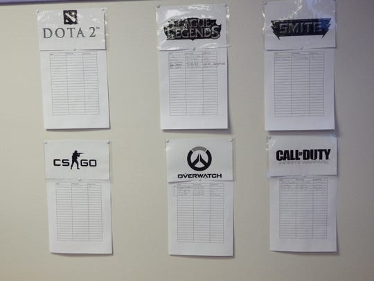 Signup sheets for video game competitions at Training