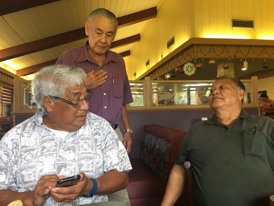 Class of 1958 members meet at Shirley's Coffee Shop in Hagåtña on Nov. 18 to discuss their upcoming 58th reunion. From left: group president Ricardo Guerrero, John San Nicolas and Jose Cepeda.