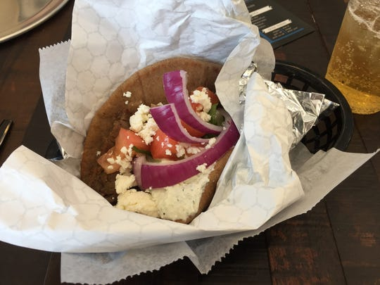 The Lunch Dude asked for the traditional gyro with loads of feta, red onions, lettuce and tomatoes at The Simple Greek.