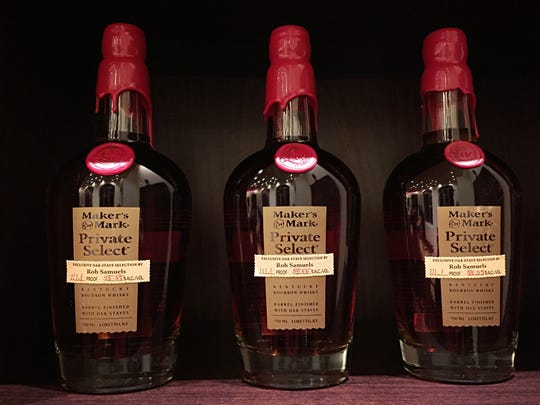 Bottles of Maker's Mark Private Select inside the distillery's whiskey cellar tasting room.
