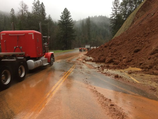 A rock and mudslide reduced traffic on Highway 299