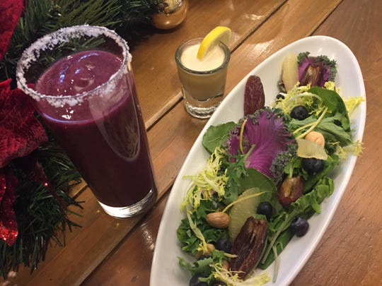 Christmas Detox Special at 1808 Grille: a superfood salad with a blueberry smoothie and a ginger and lemon shooter.