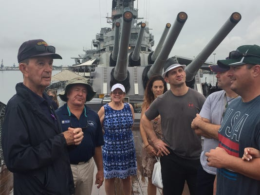 636175299246823409-Battleship-Missouri-tour-guides-George-Mead-and-Rick-Doc-Hall.JPG