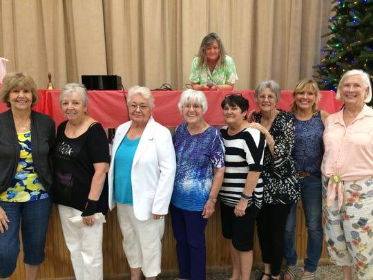 Welcome Wagon Cmte: Connie Wellman, Jean DeBlasio, Barbara Randolph, Sue Doss, Charlotte Jillson, Gayle Williams, Kathie Dail, Nancy Whitcomb & Toni Falk (on stage)