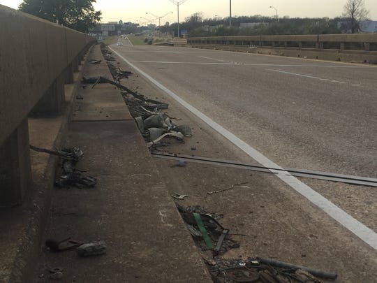 Debris along I-20 on the way to Bossier City