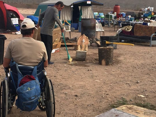 A camp for homeless veterans in Mesa, near Loop 202