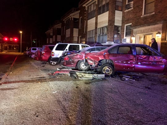 A truck hit several cars in a parking lot of the 900 block of Southeast Second Street. Six other vehicles in addition to the truck were damaged.