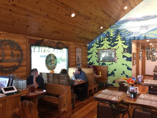 Lunchtime diners at the Old Mill Eatery & Smokehouse in Shasta Lake.