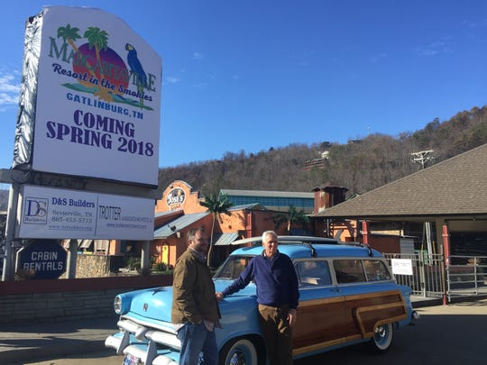 Builder Alex Davis (left) and developer Bob McManus stand Friday at the site of the planned Margaritaville Resort in the Smokies.