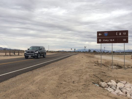 This file photo shows Kelso Cima Road at Cima Road, which is a portion of a route connecting Palm Springs to Las Vegas through the Mojave Desert. Weather officials say the area wasn't impacted by Thursday's heavy rainstorm, which dropped 3.71 inches on Palm Springs in 24 hours.