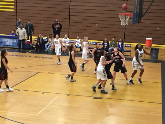 Damonte Ranch and Pershing County play in the girls tournament at Reed on Monday morning.