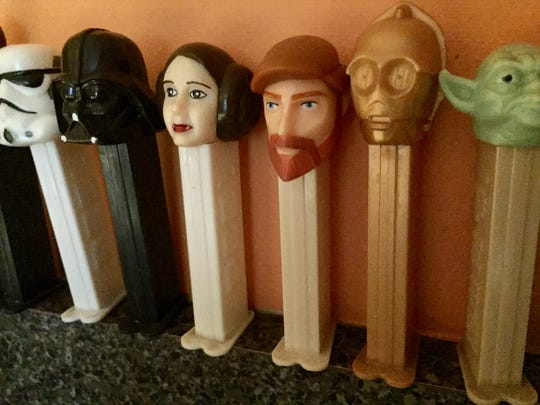 Princess Leia among our collection of PEZ dispensers.