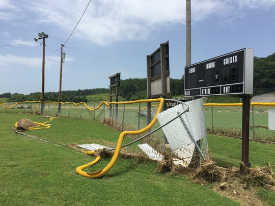 The power of July flash flood waters could be seen around the Athletic Association of Stewart County complex.