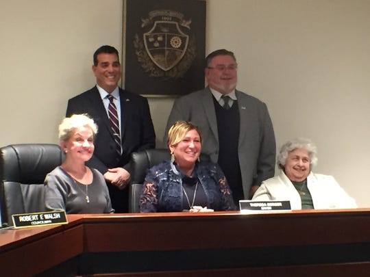 Howell's Township Council members. Standing from left: Deputy Mayor Robert Nicastro, Robert Walsh. Sitting from left: Evelyn O'Donnell, Mayor Theresa Berger and Pauline Smith.