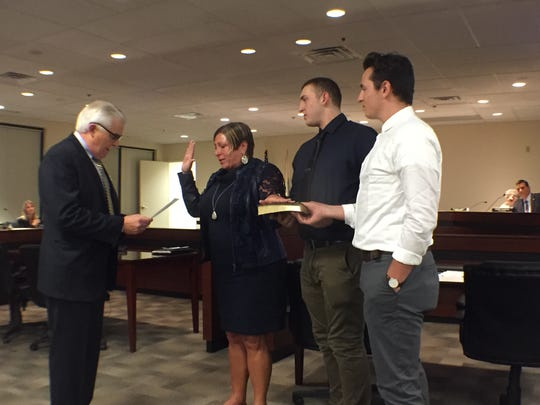 Howell Mayor Theresa Berger is sworn in on Jan. 3 with her family by her side.