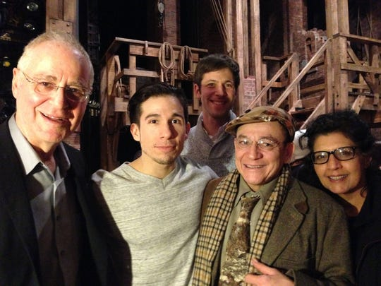 """Backstage at """"Hamilton: An American Musical."""" Jon Rua greets his father Marco Rua and his stepmother, Jo Ann Pravata of Bernardsville, and Brent Knopf of the duo EL VY and Ron Chernow, Pulitzer Prize-winning author of the book """"Alexander Hamilton,"""" which inspired the musical. From left: Ron Chernow, Jon Rua, Marco Rua, Brent Knopf and Jo Ann Pravata."""