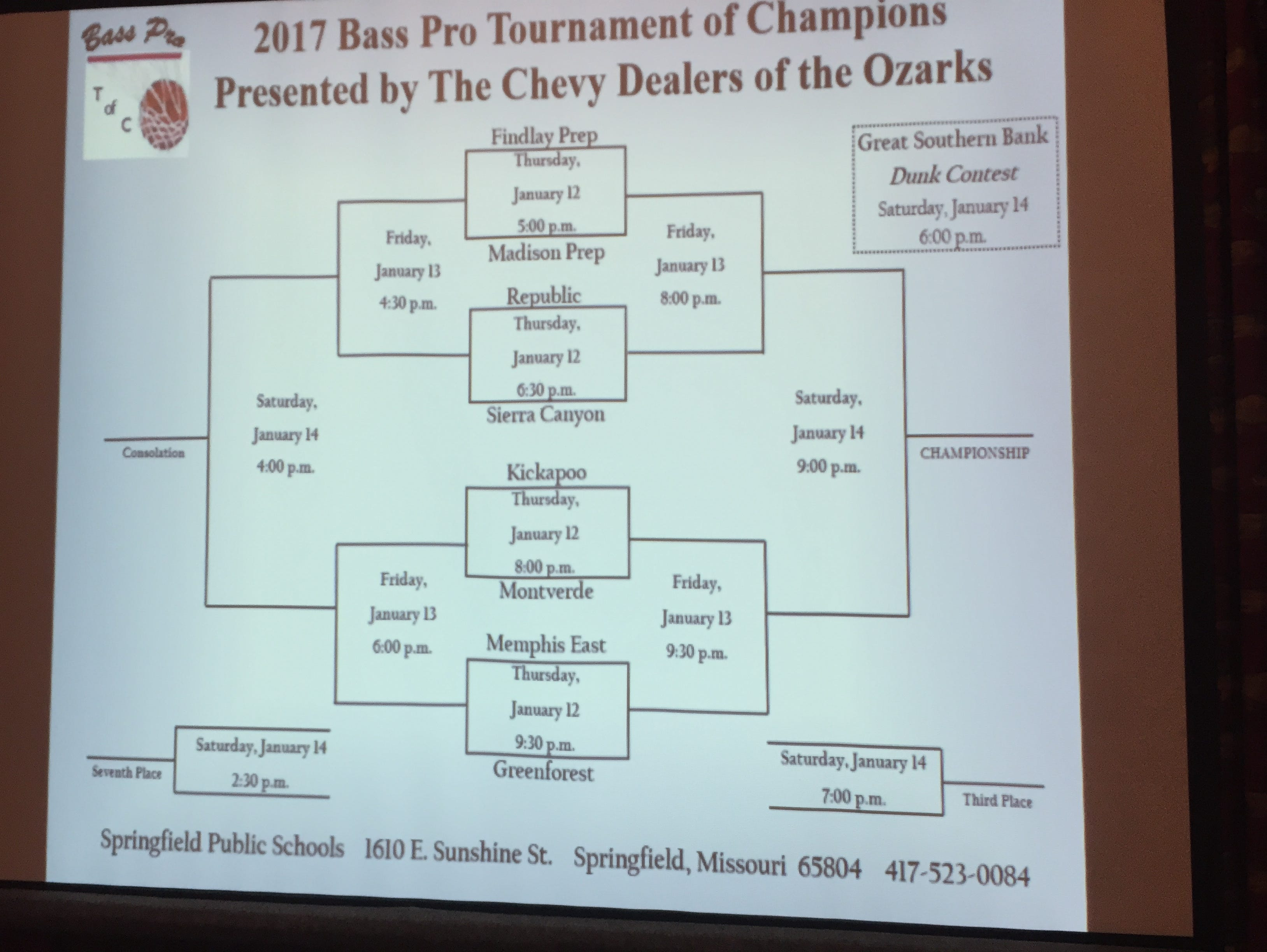 The bracket for the 2017 Bass Pro Tournament of Champions was unveiled Jan. 3, 2017 at a press conference at the John A. and Genny Morris Conservation Center in Springfield.