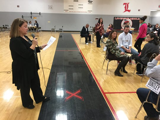 Rutherford County Schools Atlas Program Director Kim Snell addresses a crowd of La Vergne Middle School faculty and staff during a poverty simulation held Tuesday.