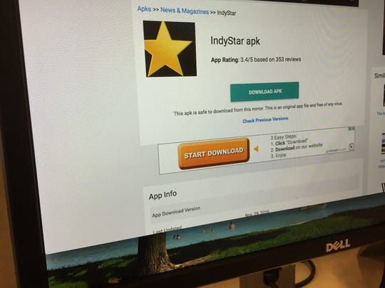 "A screengrab of the IndyStar apk file on APKMonk. Click on ""Download APK."""