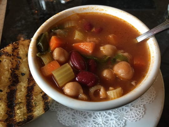 Cup of minestrone soup.
