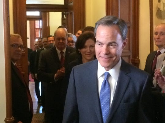 Texas House Speaker Joe Straus enters the chamber to be sworn in for a fifth term at the helm of the lower chamber on Jan. 10, 2017.