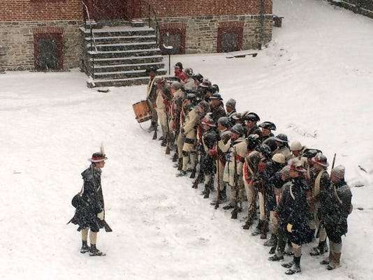 Trenton: Revolutionary Soldiers March 14 Miles from Old Barracks Museum to Princeton Battlefield PHOTO CAPTION