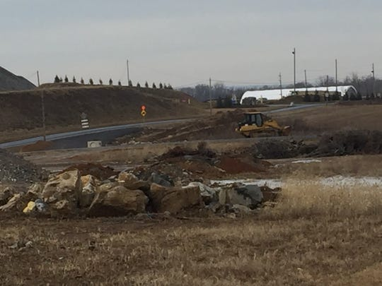 Construction on Clear Spring Road, N. Annville Township, where a road realignment with Killinger Road, S. Annville, is underway where both roads intersect with Route 422. A Rutter's Farm Store is also under construction at the new intersection. The store is projected to open in April.