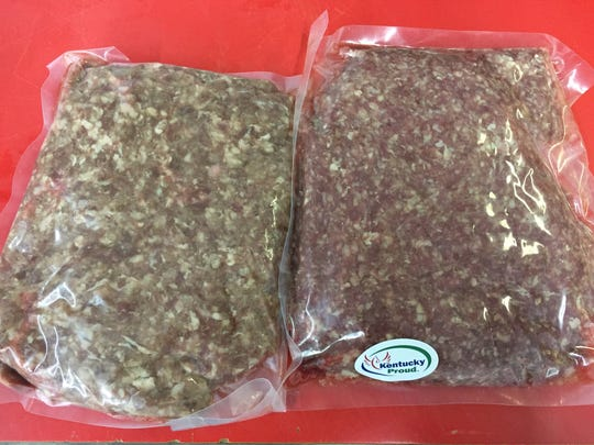 Grass-fed, organic beef from Foxhollow Farm on the right runs has a different look than conventional ground beef fattened on grain.  Both ground beef types are a mix of 80 percent lean, 20 percent fat at Superior Meats in West Louisville.