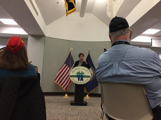 Margaret Caplan, director of the Veterans Affairs Hudson Valley Health Care System, speaks during a town hall at the Castle Point campus on Thursday, Jan. 12, 2017.