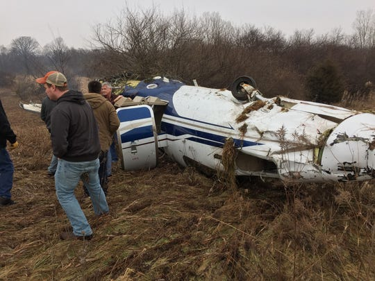 Passers-by helped a 60-year-old Batavia, New York, man out of his Textron 525C jet after it skidded off the runway at the Spencer J Hardy Airport in Howell Township on Monday, Jan. 16, 2017.