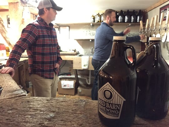 Peter McAlenney (left) and Jeremy McMullen opened Red Barn Brewing in Danville in June.
