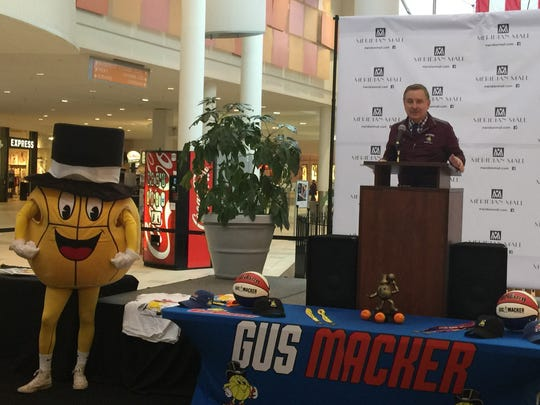 Gus Macker founder Scott McNeal speaks during a press