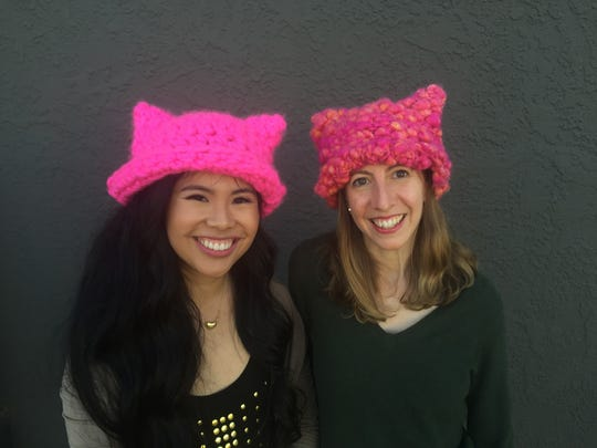 Krista Suh (left) and Jayna Zweiman of Los Angeles are the founders of the Pussyhat Project.