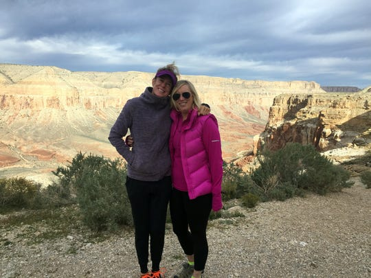 Anna Dahlquist and AZ Central travel reporter Dawn Gilbertson at Hualapai Hilltop, the trailhead to Havasu Canyon and the Havasupai waterfalls on Nov. 1, 2016.