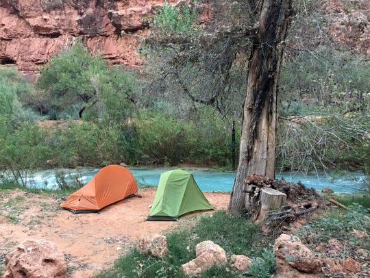 A perfect creekside camping spot at the mile-long Havasupai
