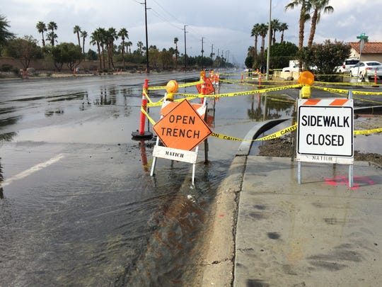 Rain brought some minor flooding to parts of the valley, including this intersection of Vista Chino and Avenida Terrazo in Cathedral City where some curb work was already under way.