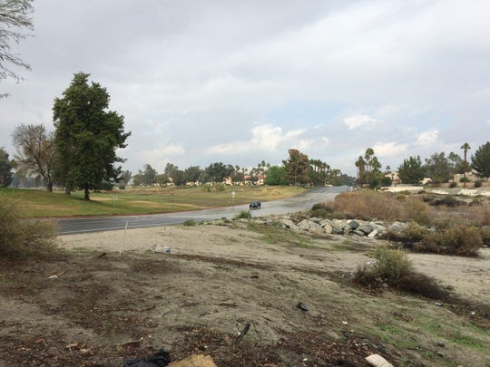 Cathedral Canyon Drive at the wash in Cathedral City was clear on Thursday morning, but that could change as more rain hits the valley over the weekend.
